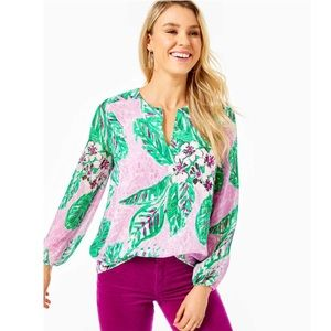 NWT Lilly Pulitzer Aaron silk top magnolia Lilac